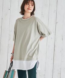 UVカット対応USAコットンレイヤード5分袖Tシャツ#