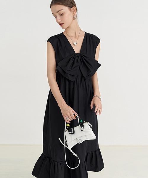 【Fano Studios】【2021SS】big bow V-neck dress FX21L185