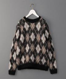 <BATONER×6(ROKU)>ARGYLE CHECK CREW NECK KNIT/ニット