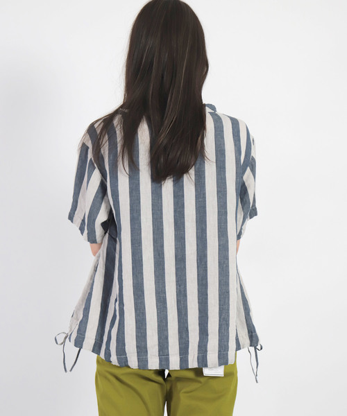 [D.M.G / ディーエムジー] リネンワイドストライプ POシャツ