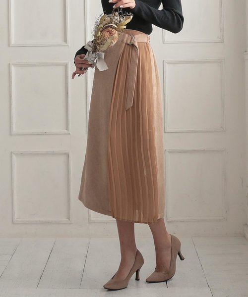 KOBE LETTUCE(コウベレタス)の「サイドプリーツスウェードスカート(スカート)」|ベージュ