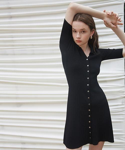 【Fano Studios】【2021SS】placket button rib knit dress FX21L230