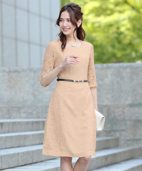 Primazel(プリマゼル)の「ベルト付サイドレースミディアム丈ワンピースドレス(ドレス