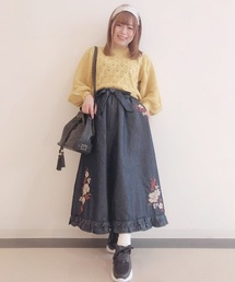 刺繍デニムスカート(スカート)