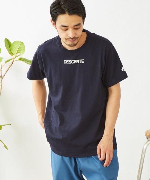 DESCENTE/デサント ロゴデザイン ソフトコットン半袖Tシャツ
