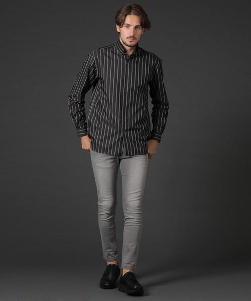 クラシックストライプセミロングシャツ
