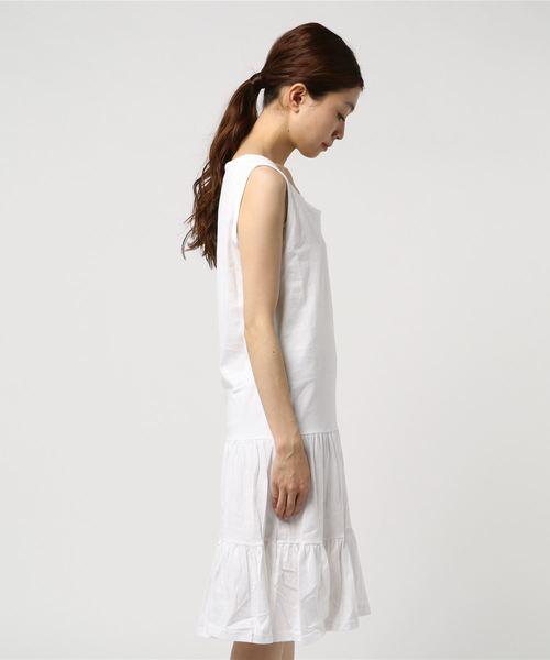 【La・comfy】ソフト天竺 裾ティアード ノースリーブワンピース