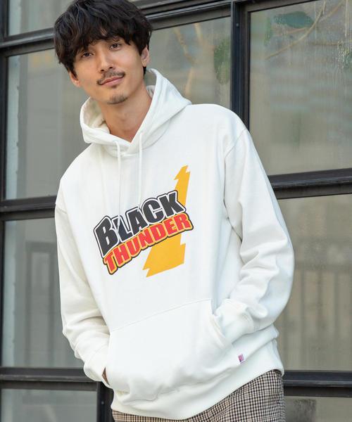 ブラックサンダー×BSC×coenロゴプリントパーカー
