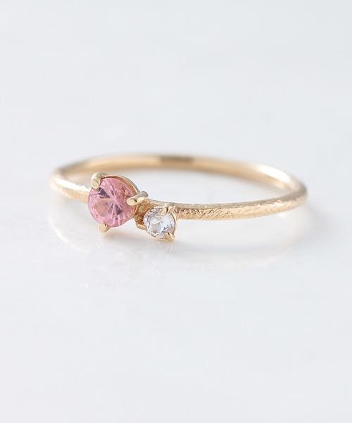 NOIR DE POUPEE(ノワールドプーペ)の「K10 シンプル 天然石 ピンキーリング(リング)」 ピンク