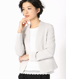 COMME CA ISM(コムサイズム)の<日本素材>ノーカラー ジャージー ジャケット(ノーカラージャケット)