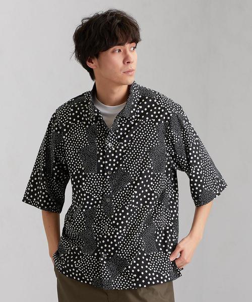 MC パターンドット オープンカラーシャツ