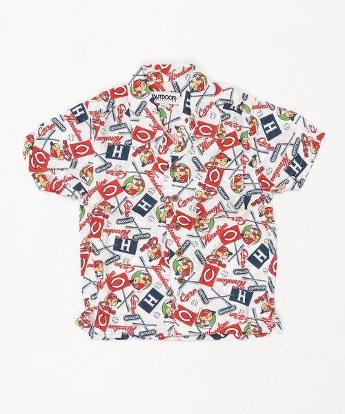 KIDSカープコラボアロハシャツ/CARP/ロゴ/カープ坊や
