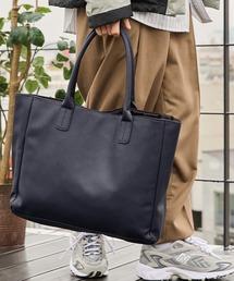 Neo PU leather Tote Bag / ビッグ トートバッグネイビー
