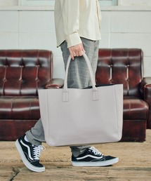 Neo PU leather Tote Bag / ビッグ トートバッグライトグレー