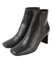 titivate(ティティベイト)のスクエアトゥデザインヒールショートブーツ(ブーツ)
