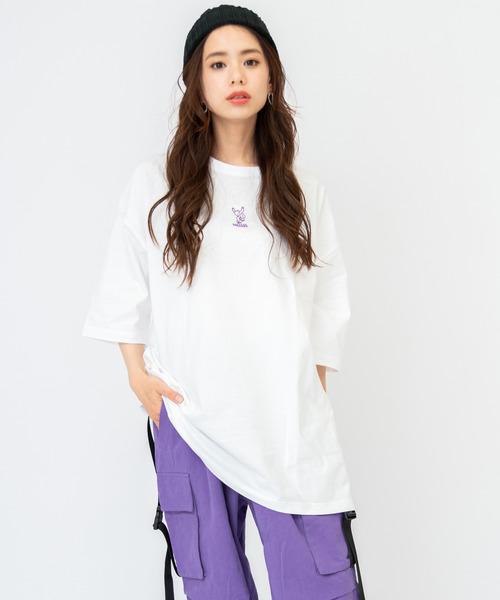 WACHO スケボーベア刺繍 ビッグシルエット Tシャツ 半袖 ビッグT