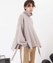 サイドスリットムスビ 畦タートルネックニットプルオーバー(EMMA CLOTHES)2020AWベージュ