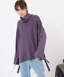 サイドスリットムスビ 畦タートルネックニットプルオーバー(EMMA CLOTHES)2020AWパープル