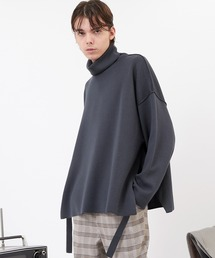 サイドスリットムスビ 畦タートルネックニットプルオーバー(EMMA CLOTHES)2020AWブルー