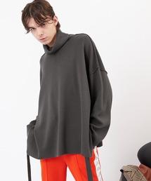 サイドスリットムスビ 畦タートルネックニットプルオーバー(EMMA CLOTHES)2020AWチャコール