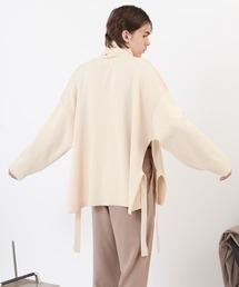 サイドスリットムスビ 畦タートルネックニットプルオーバー(EMMA CLOTHES)2020AWアイボリー