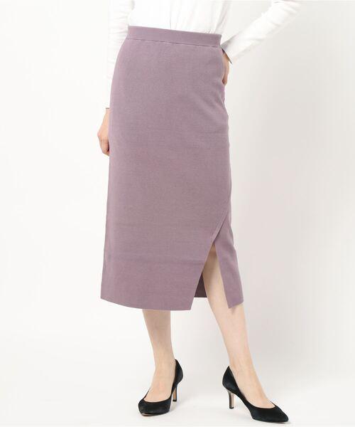 TONAL(トーナル)の「サイドスリットニットスカート(スカート)」|パープル