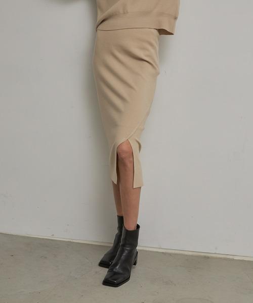 TONAL(トーナル)の「サイドスリットニットスカート(スカート)」|ベージュ