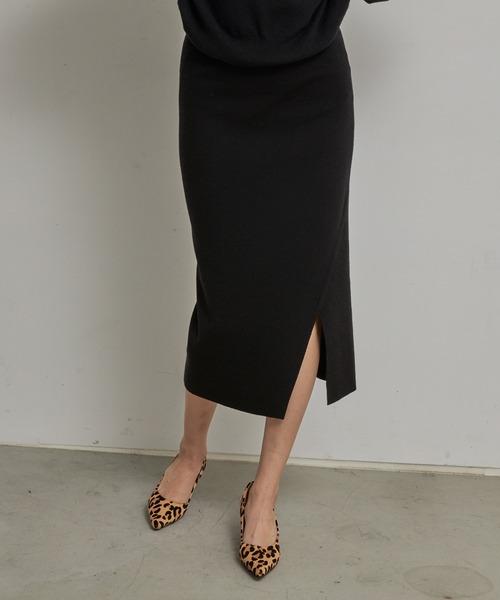 TONAL(トーナル)の「サイドスリットニットスカート(スカート)」|ブラック