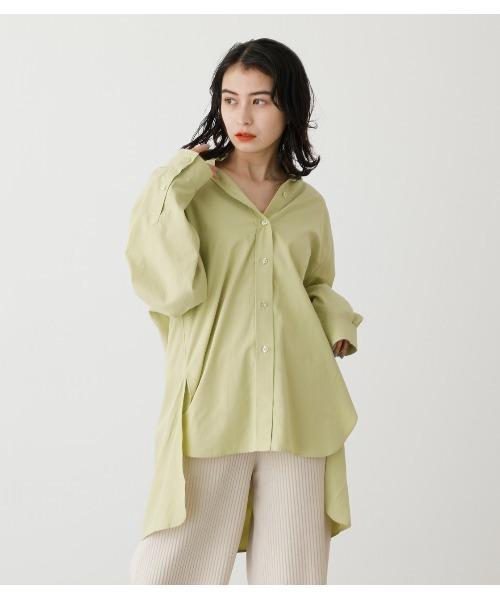AZUL BY MOUSSY(アズールバイマウジー)の「COLOR SIMPLE SHIRTS/カラーシンプルシャツ(シャツ/ブラウス)」|ライム