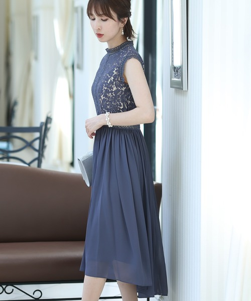 ドレス ワンピースヴィンテージライクレースドレス·結婚式