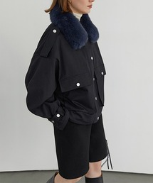 【Fano Studios】【2021AW】Fox fur short military jacket FD20W172ブラック