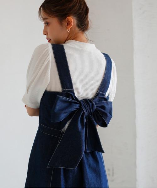 one after another NICE CLAUP(ワンアフターアナザーナイスクラップ)の「【ZOZO限定】バックリボンジャンパースカート(ジャンパースカート)」|インディゴブルー