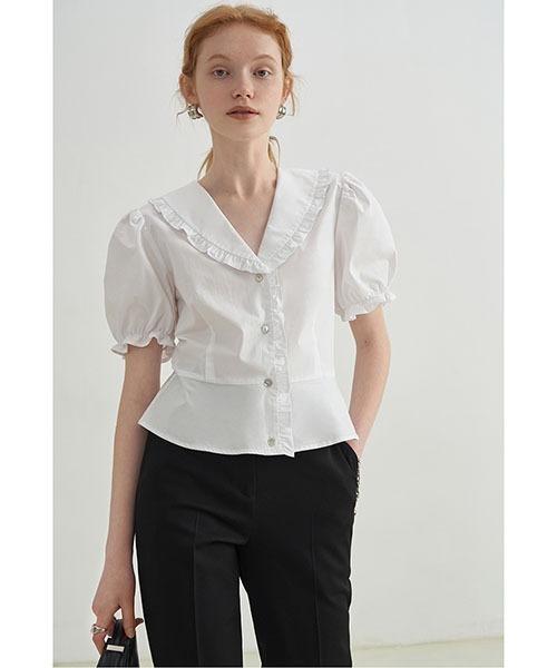 【Fano Studios】【2021SS】doll collar ruffled shirt blouse FX21S269