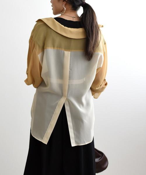 切り替え袖デザインシアーシャツ