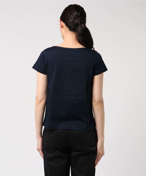 エムエフエディトリアルレディース/m.f.editorial:Women コットンバイオシルケットパールピン付きプルオーバー半袖Tシャツ(オレンジ・ネイビー)【COOLBIZ:クールビズおすすめアイテム】
