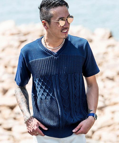 Tシャツ/前身頃クレイジー編み替えVネックTシャツ