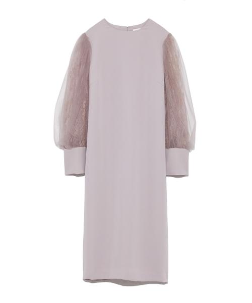 チュールスリーブドレス