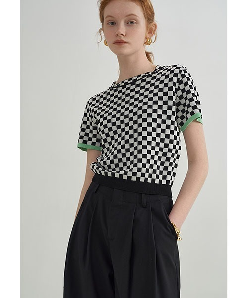 【Fano Studios】【2021SS】Checkerboard contrast color knit FX21S297
