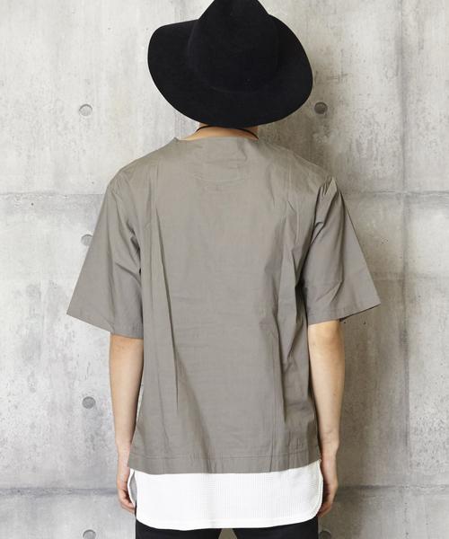 ノーカラープルオーバーシャツ ドッキングシャツ