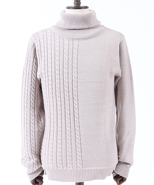 mn1830-Center Switch Turtle Neck Knit Pullover ニット
