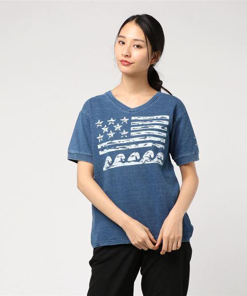カットデニム袖口リブTシャツ