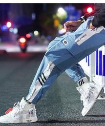 【BASQUE -enthusiastic design-】テーパード アンクル カーゴ ジョガーパンツライトブルー