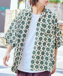 KANGOL/カンゴール 別注 ロゴ刺繍 ビッグシルエット 柄シャツ 総柄 オープンカラーシャツ アロハシャツ 2021SUMMERホワイト系その他