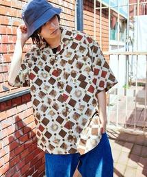 KANGOL/カンゴール 別注 ロゴ刺繍 ビッグシルエット 柄シャツ 総柄 オープンカラーシャツ アロハシャツ 2021SUMMERベージュ系その他2