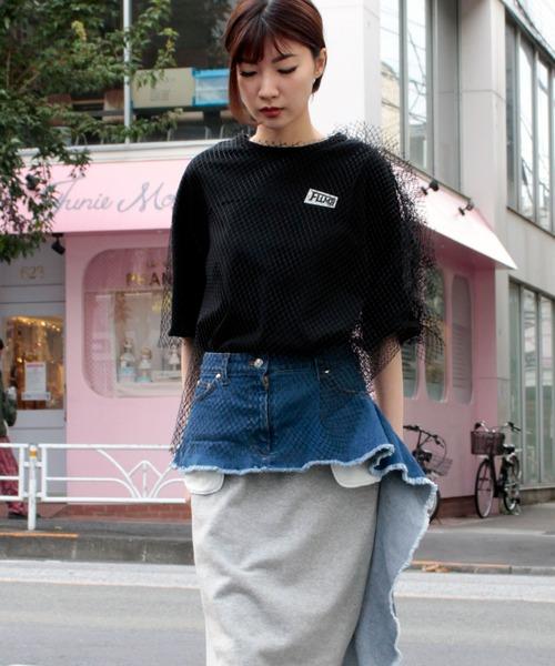 デニム×スウェットスカート