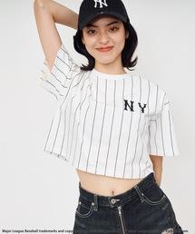 【MLB】刺繍ロゴTシャツストライプ