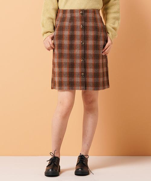 フェイクウールミニボタンスカート