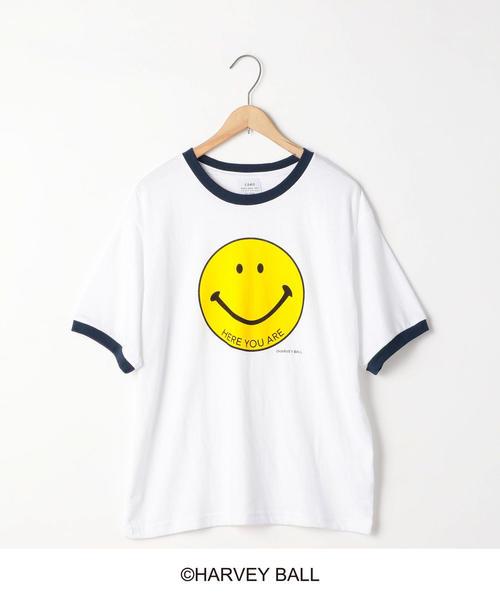スマイルプリントリンガーTシャツ