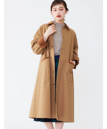 POU DOU DOU(プードゥドゥ)の微起毛ツイルぷっくり袖ロングコート(ステンカラーコート)