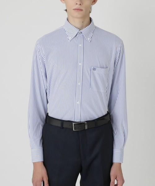 【本物新品保証】 【イージーケア】ジャージーストライプボタンダウンシャツ, オオヤマザキチョウ 9afd4fd8